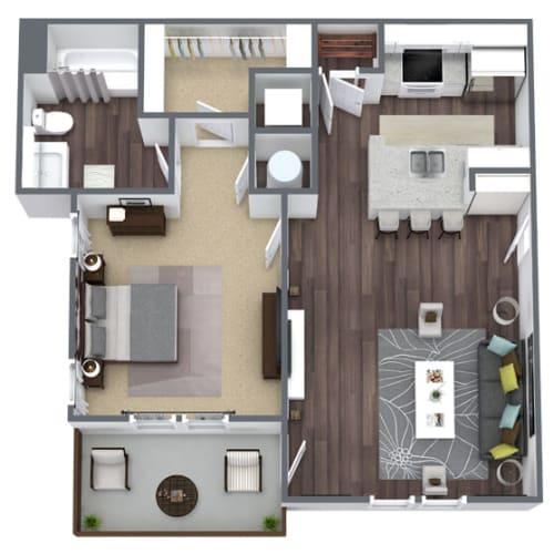Floor Plan  A1 Floor Plan, 1-Bed 1-Bath, 685 SQFT