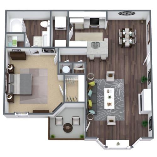 Floor Plan  A2 Floor Plan, 1-Bed 1-Bath, 826 SQFT