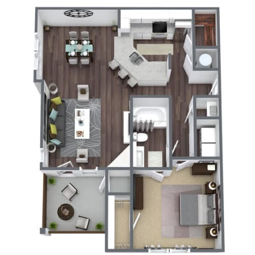 Floor Plan  A3 Floor Plan, 1-Bed 1-Bath, 944 SQFT