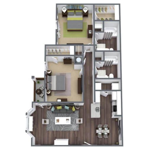 Floor Plan  B1 Floor Plan, 2-Bed 2-Bath, 1,114 SQFT