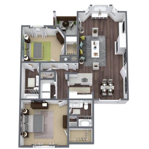 Floor Plan  B2 Floor Plan, 2-Bed 2-Bath, 1,171 SQFT