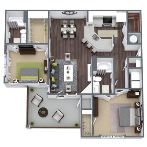 Floor Plan  B3 Floor Plan, 2-Bed 2-Bath, 1,279 SQFT
