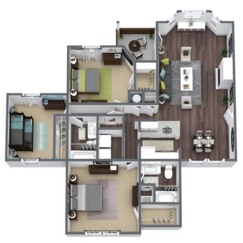 Floor Plan  C1 Floor Plan, 3-Bed 2-Bath, 1,367 SQFT
