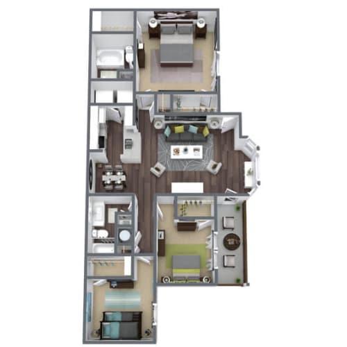 Floor Plan  C2 Floor Plan, 3-Bed 2-Bath, 1,380 SQFT