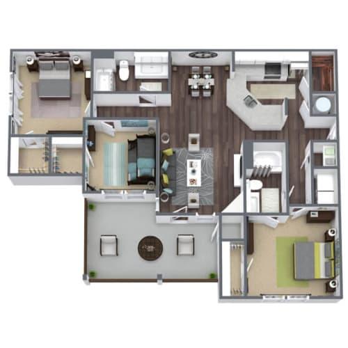 Floor Plan  C3 Floor Plan, 3-Bed 2-Bath, 1,450 SQFT