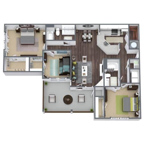 Floor Plan  C4 Floor Plan, 3-Bed 2-Bath, 1,505 SQFT