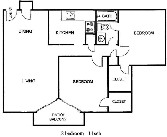 Floor Plan  2 Bedroom 1 Bathroom Floor Plan