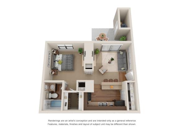 Floor Plan  1 Bedroom Layout