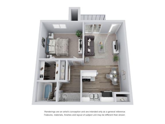Floor Plan  1 bed 1 bath 3D Floor Plan B
