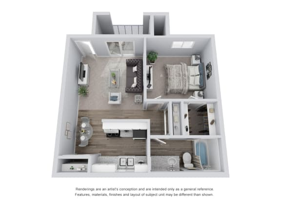 Floor Plan  1 bed 1 bath 3D Floor Plan C