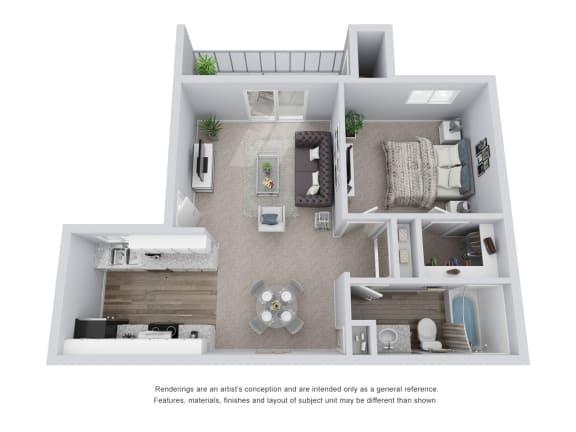 Floor Plan  1 bed 1 bath 3D Floor Plan D