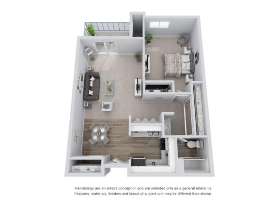 Floor Plan  1 bed 1 bath 3D Floor Plan E
