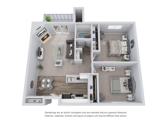 Floor Plan  2 bed 1 bath 3D Floor Plan  A