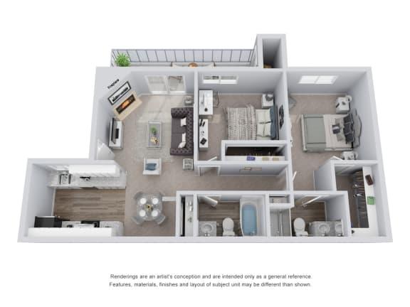 Floor Plan  2 bed 2 bath 3D Floor Plan B
