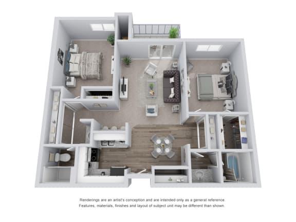 Floor Plan  2 bed 2 bath 3D Floor Plan C