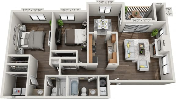Floor Plan  B2R-Two Bedroom Two Bath floorplan