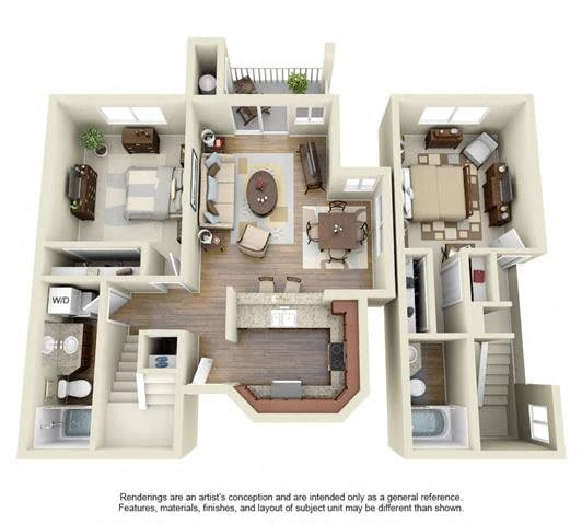 Floor Plan  2 BED 2 BATH - B3 floorplan