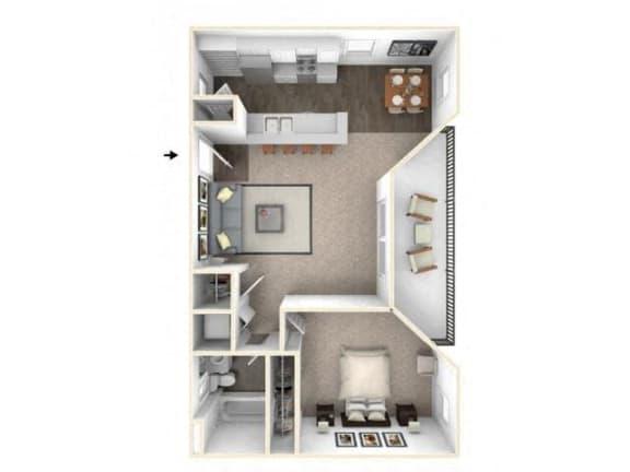 Floor Plan  1 bed 1 bath floor plan A1