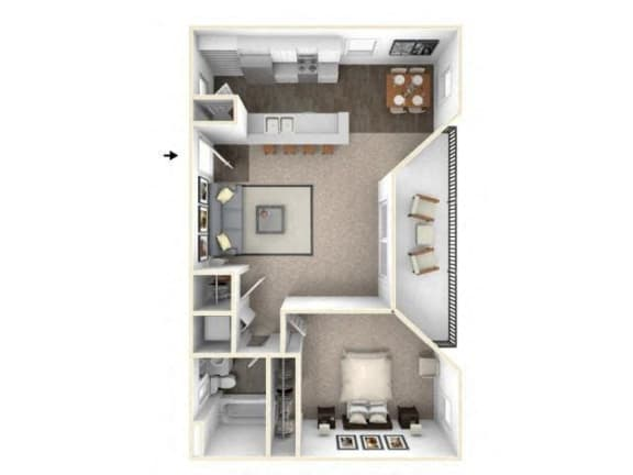 Floor Plan  1 bed 1 bath floor plan A1 RENOVATED