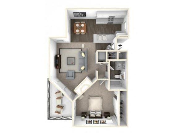Floor Plan  1 bed 1 bath floor plan A2