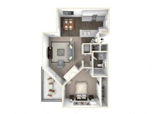 Floor Plan  1 bed 1 bath floor plan A2 RENOVATED