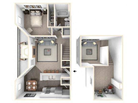 Floor Plan  1 bed 1 bath floor plan A3 Loft