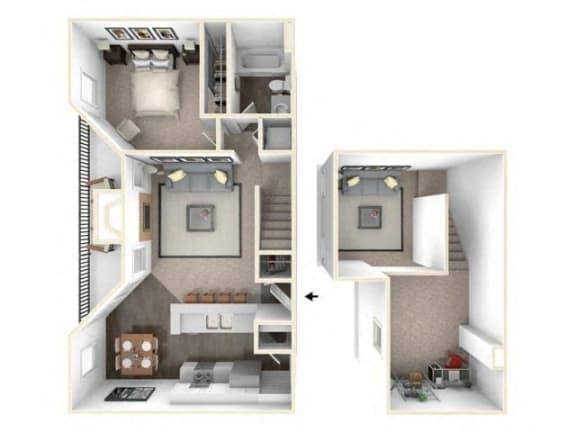 Floor Plan  1 bed 1 bath floor plan A3 Loft RENOVATED