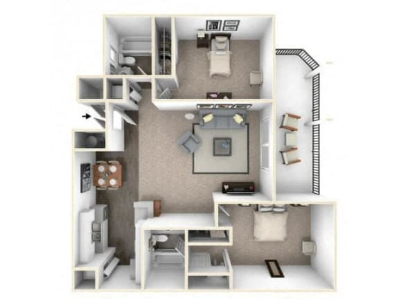 Floor Plan  2 bed 2 bath floor plan B1