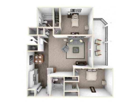 Floor Plan  2 bed 2 bath floor plan B1 RENOVATED