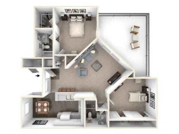 Floor Plan  2 bed 2 bath floor plan B2