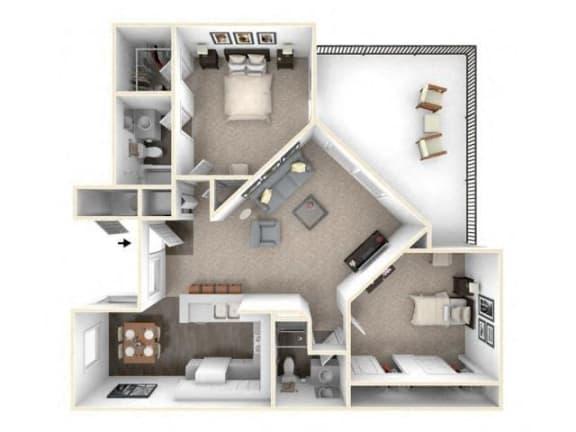Floor Plan  2 bed 2 bath floor plan B2 RENOVATED