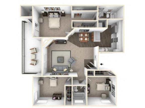 Floor Plan  3 bed 2 bath floor plan C1