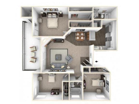 Floor Plan  3 bed 2 bath floor plan C1 RENOVATED