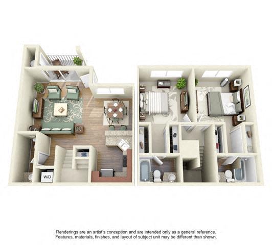 Floor Plan  2 BED 2 BATH - B2R floorplan
