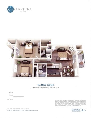 Floor Plan  Niles Canyon Espresso A1 2 Bed 2 Bath 951 SQ.FT floor plan