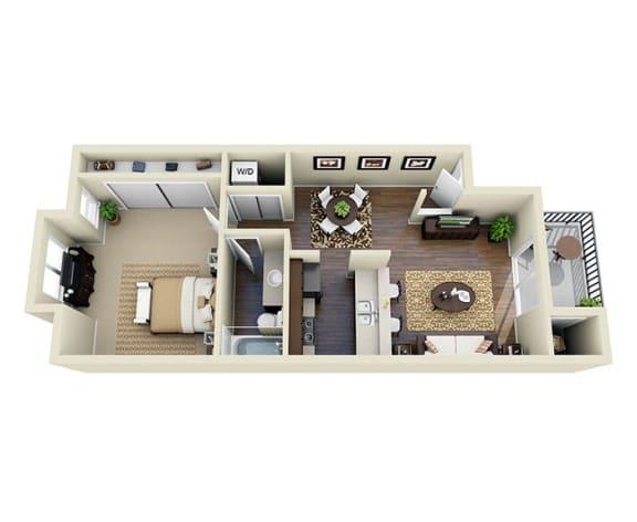 Floor Plan  Santa Cruz Espresso A1 1 Bed 1 Bath 722 SQ.FT. floor plan