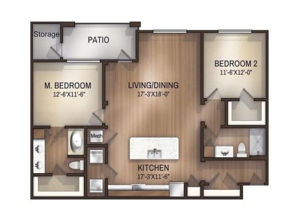 Floor Plan  mayfair 1183 sf 2 bed 2 bath, opens a dialog.