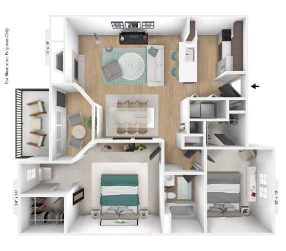 Floor Plan  The Capricorn 2 BR 1 BA