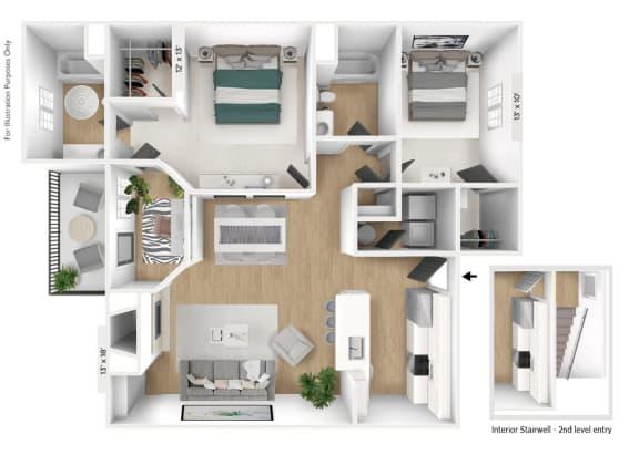 Floor Plan  The Horizon 2 BR 2 BA