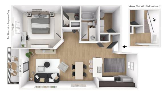 Floor Plan  The Latitude 1 BR 1 BA