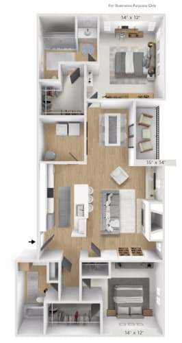 Floor Plan  The Longitude 2 BR 2 BA