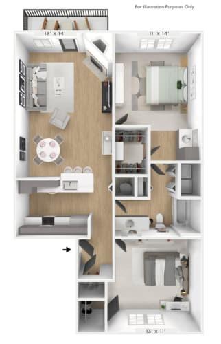 Floor Plan  The Meridian 2 BR 1 BA