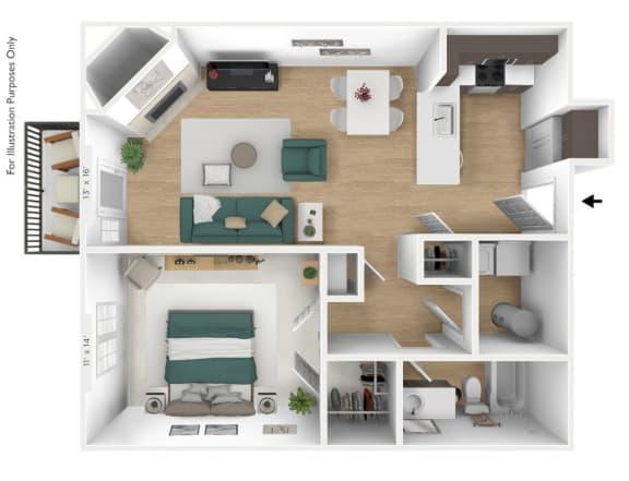 Floor Plan  The Navigator 1 BR 1 BA