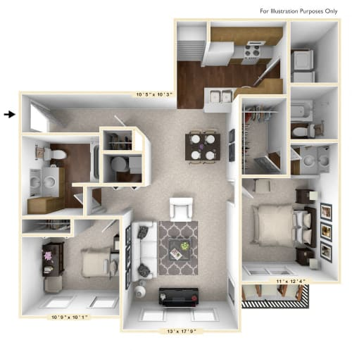 Floor Plan  The Cambridge - 2 BR 2 BA Floor Plan at Brickshire Apartments, Merrillville, IN