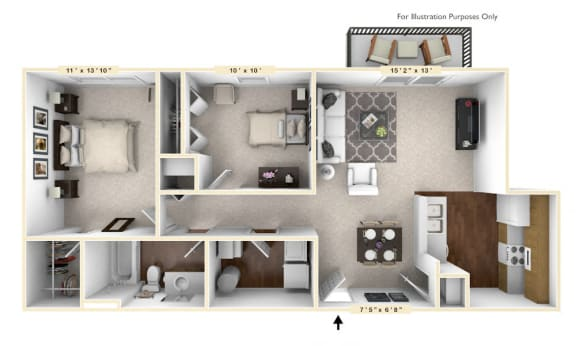 Floor Plan  The Somerset - 2 BR 1 BA Floor Plan at Brickshire Apartments, Merrillville, IN, 46410