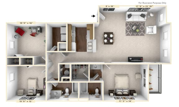 Floor Plan  The Windsor - 3 BR 2 BA Floor Plan at Brickshire Apartments, Merrillville, IN, 46410