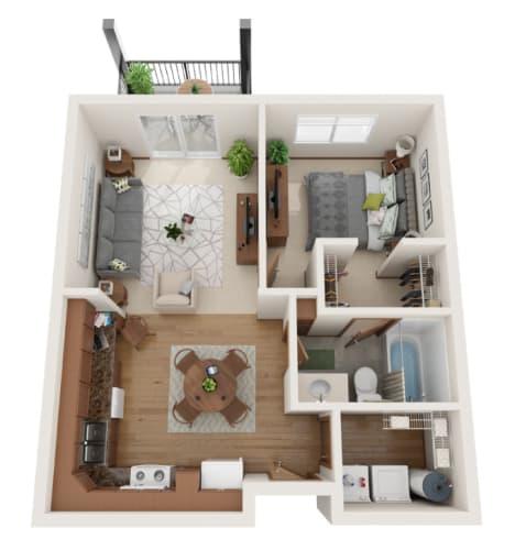 Floor Plan  1 bedroom 3D layout