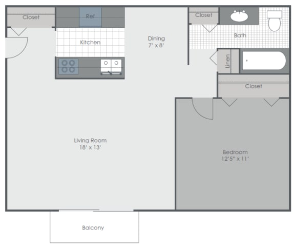 Floor Plan  1 Bedroom 1 Bath 690 sq ft floor plan image