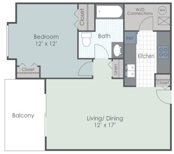 Floor Plan  1 Bedroom 1 Bath 740 sq ft floor plan image