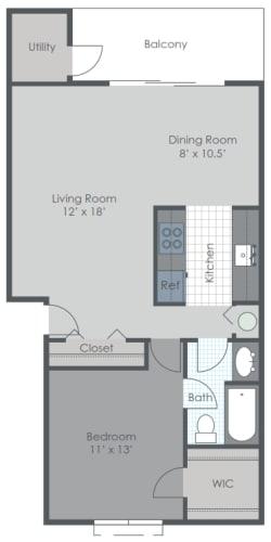 Floor Plan  1 Bedroom Floor Plan 830 sq ft 2D